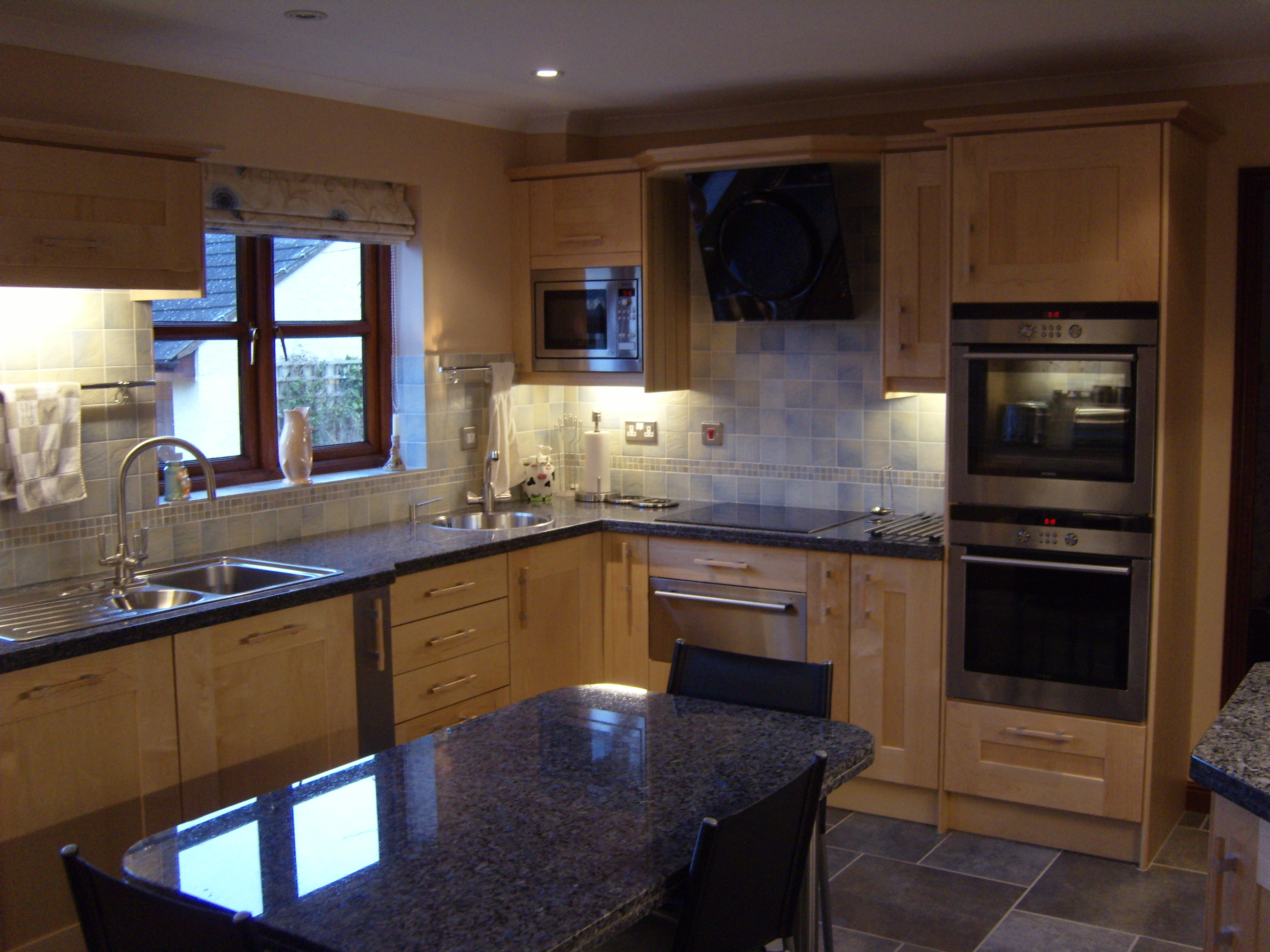 Masterclass Solid Maple kitchen project included new lighting, tiled floor  and a granite table. We went on to carry out a bathroom and cloakroom  refits and ...