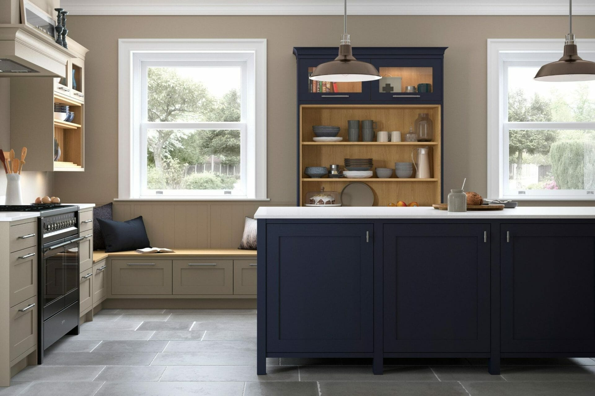 Dark Blue Traditional Kitchen