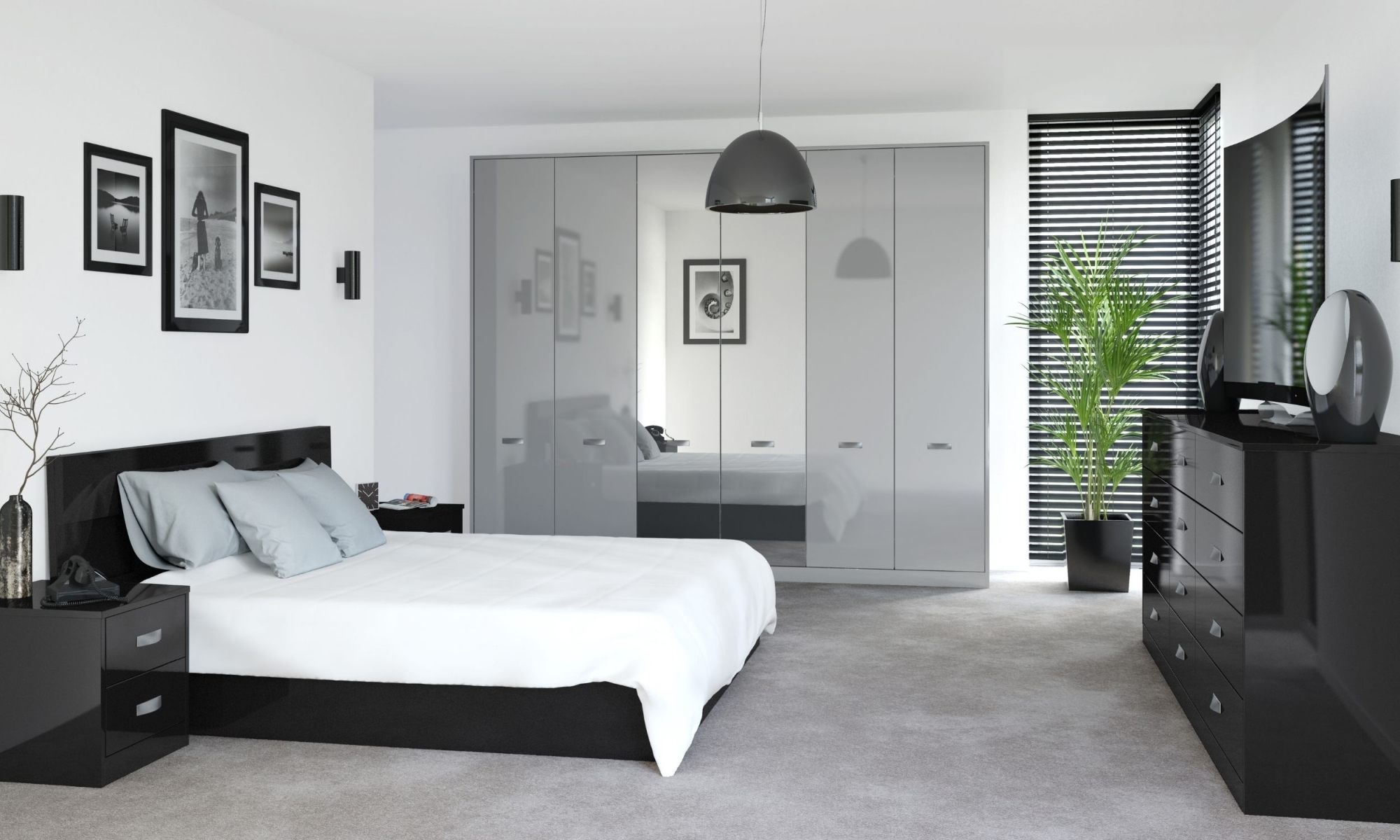 Glossy Bedroom With Grey Finish