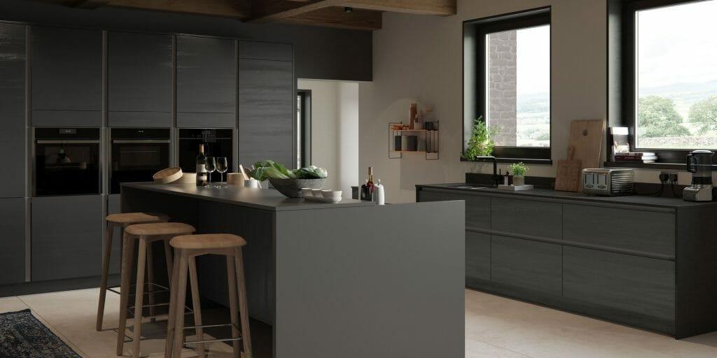 Dark Kitchen With Wooden Finish