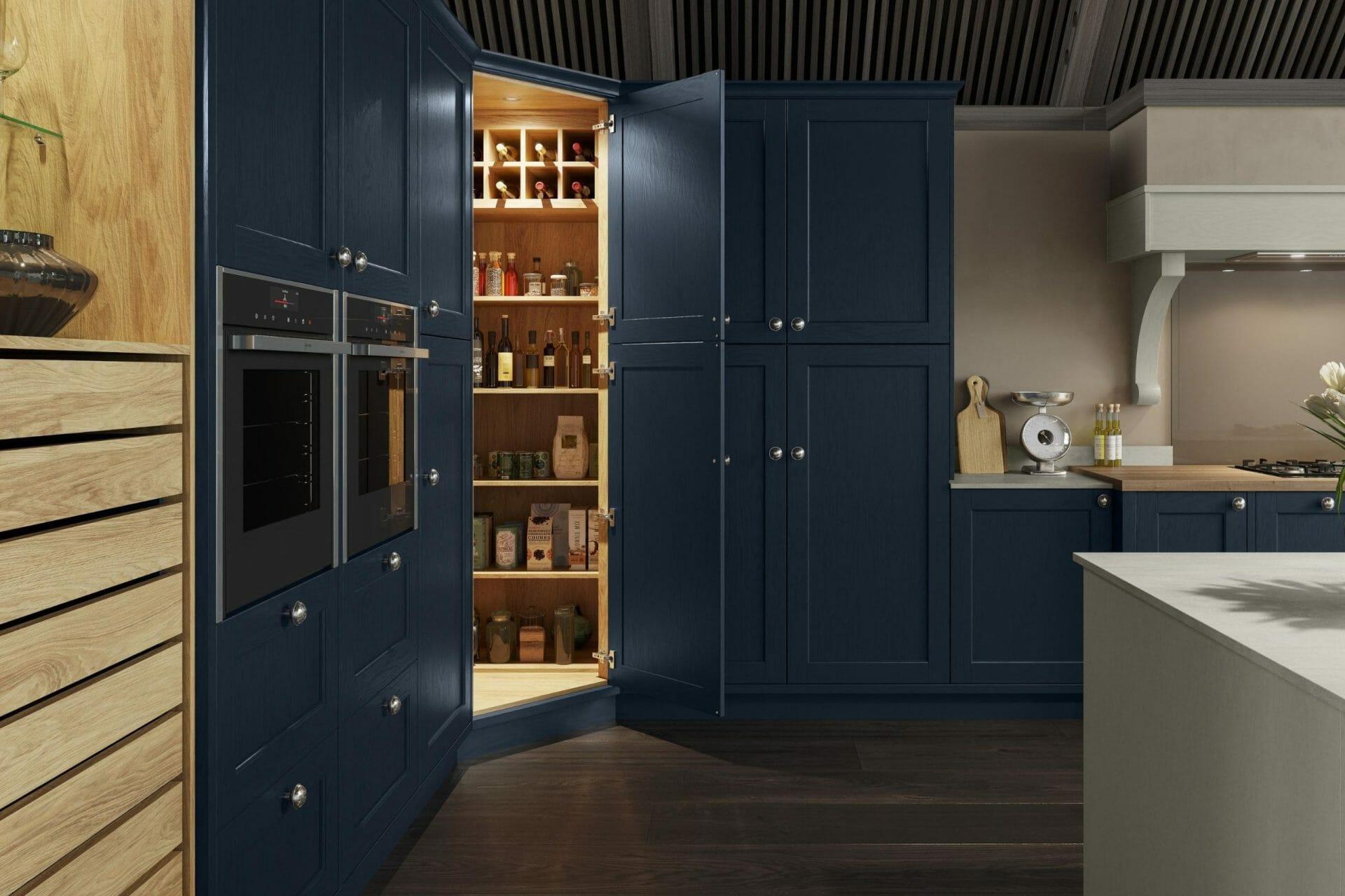 Dark Blue and Wood Shaker Kitchen
