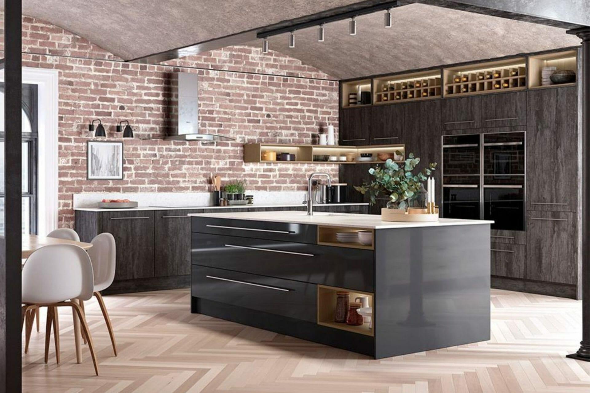 Gloss black modern kitchen