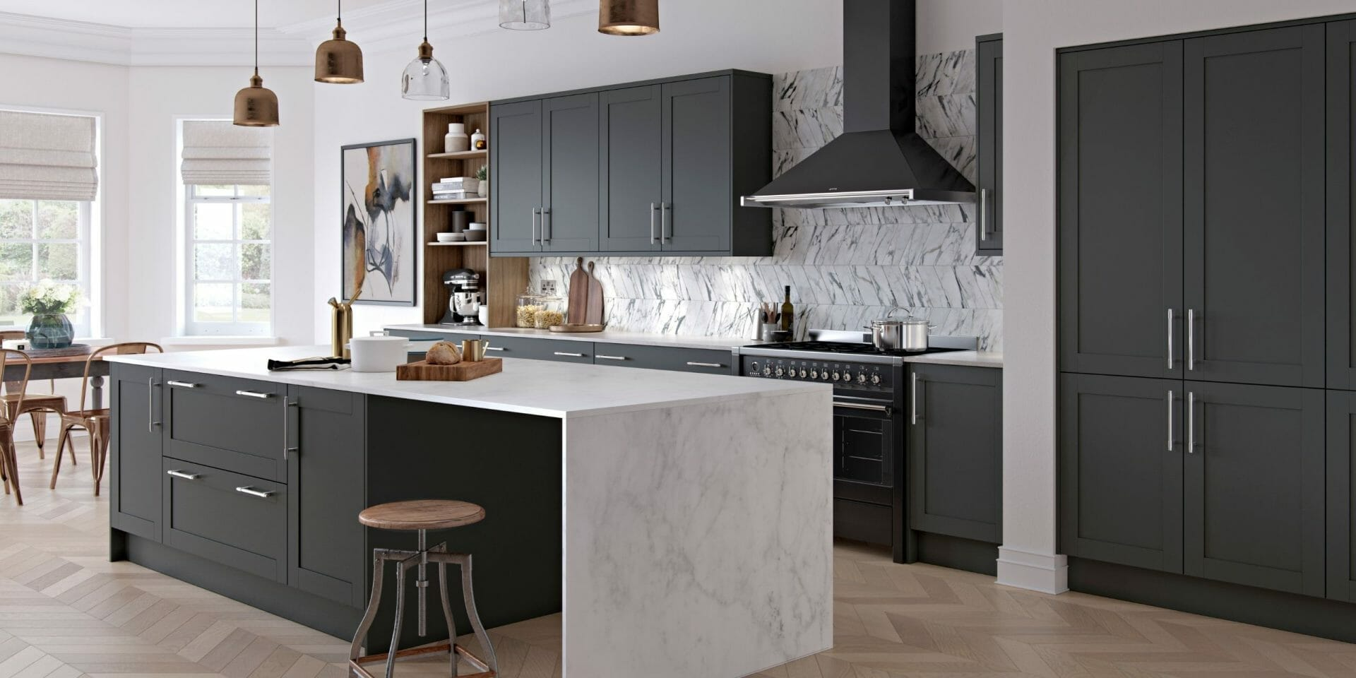 luxury Kitchen With Graphite Finish