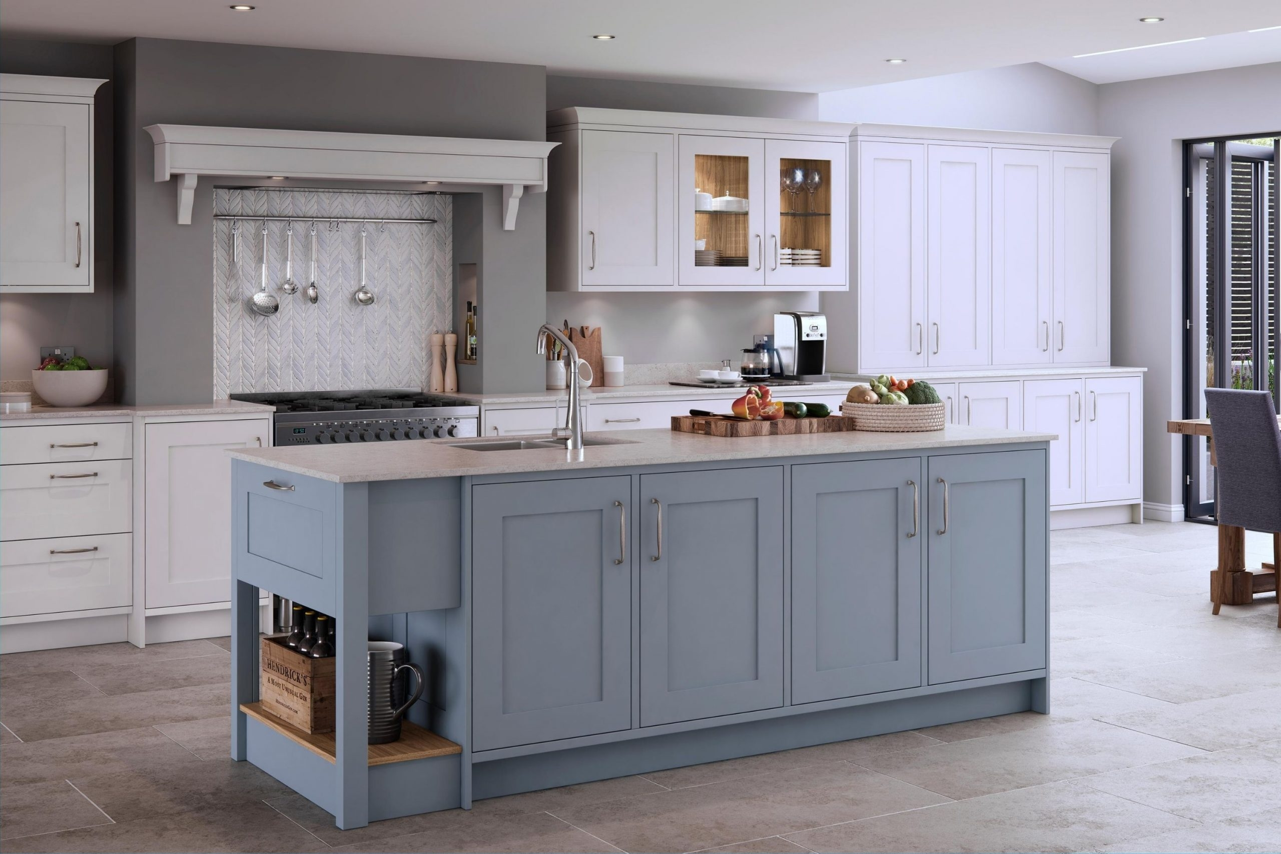 Pale Blue Shaker Kitchen