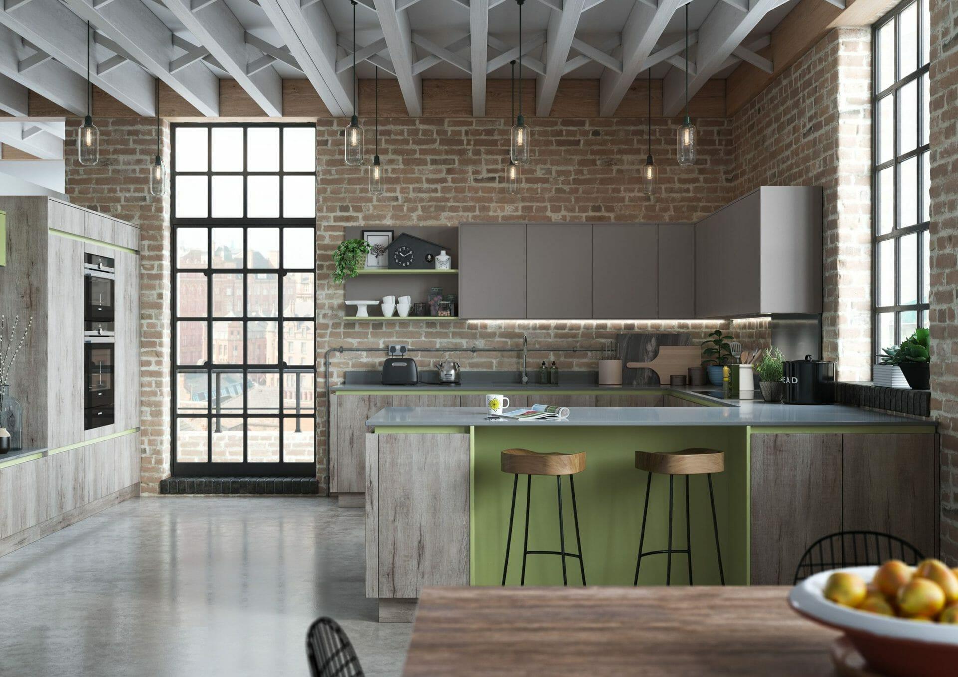 Green And Oak Modern Kitchen